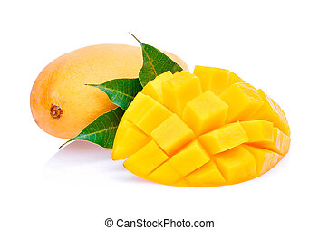 fresh mango with leaves isolated on white background