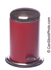 Red Rubbish Bin Isolated - Isolated image of a red rubbish...