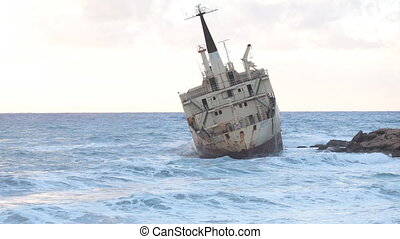 An old shipwreck or abandoned shipwreck. , Wrecked boat...