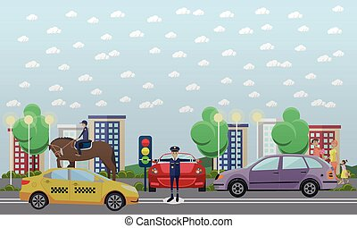 Traffic policeman and mounted police, vector flat...