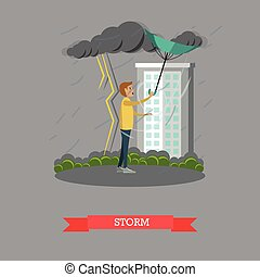 Storm concept vector illustration in flat style - Stormy,...