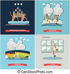Vector set of winter and water sports concept flat posters -...