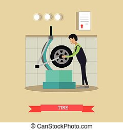 Tire service vector illustration in flat style - Tire...