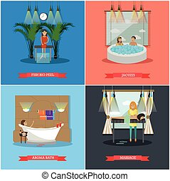 Vector set of spa therapy concept posters in flat style -...