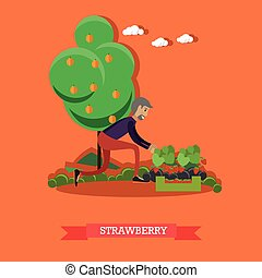 Gardening concept vector illustration in flat style.