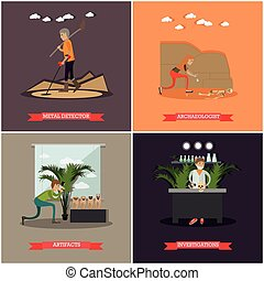 Vector set of archaeology concept posters in flat style -...