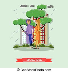 Small rain concept vector illustration in flat style -...