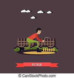 Vector illustration of farm worker with sickle in flat style...
