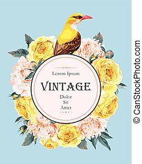 Vintage card with roses and bird - Vintage greeting card...