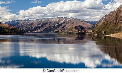 scenico, vista, lago,  hawea