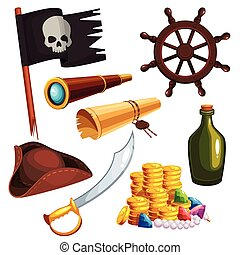 Set of pirate elements - A vector illustration of pirate...