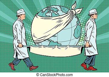 Earth day, nurses and a sick planet. Pop art retro vector...