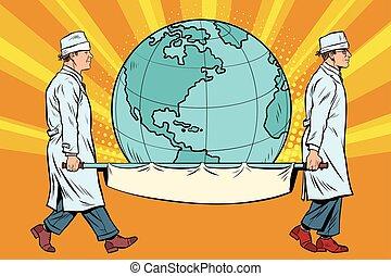 medics carry the planet Earth on a stretcher. Pop art retro...