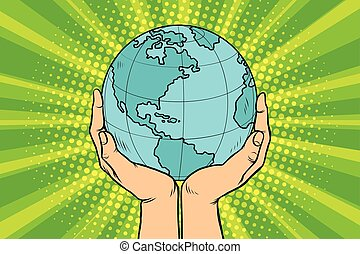 Blue planet Earth in human hands