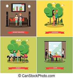 Vector set of happy loving couples posters in flat style