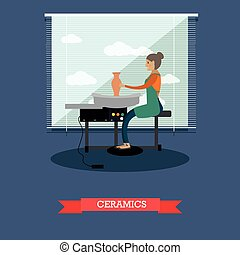 Ceramics concept vector illustration in flat style. - Vector...