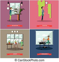 Vector set of arts and crafts professionals flat posters
