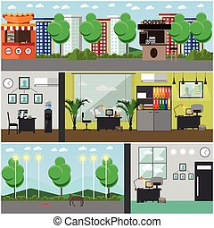 Vector set of detective office interior posters in flat...