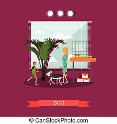 Buying a dog vector illustration in flat style