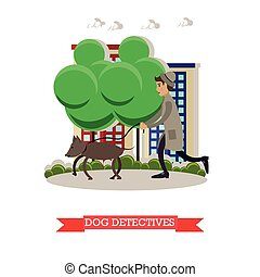 Vector illustration of detective with beagle dog in flat...