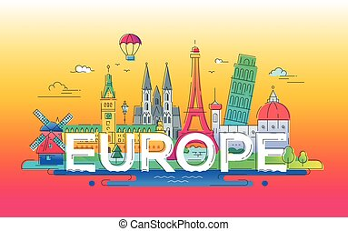 Europe - flat design composition with landmarks