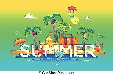 Summer - vector line travel illustration - Summer - modern...