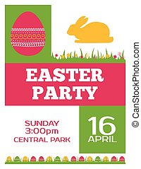 Easter party invitation poster. Flyer design