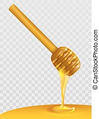 Wooden honey dipper and honey on transparent background....