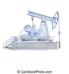 Oil Drilling Rig on White Background, Extraction of Oil,...