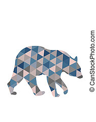 Silhouette of bear in triangles.
