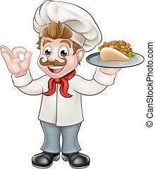 Chef Kebab Cartoon - A chef cartoon character holding a...