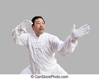 taichi on gray3 - 70 year old asian man performing tai-chi...