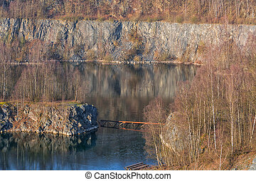 Old abandoned opencast mining - Panoramic view of an old...