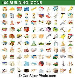 100 building icons set, cartoon style - 100 building icons...