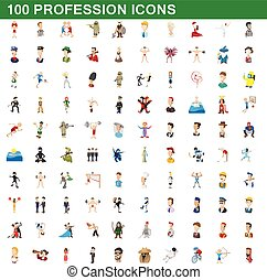 100 profession icons set, cartoon style