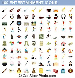 100 entertainment icons set, flat style