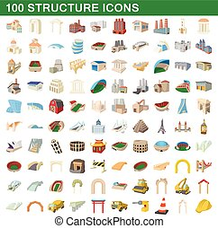 100 structure icons set, cartoon style - 100 structure icons...