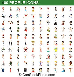 100 people icons set, cartoon style
