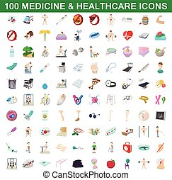 100 medicine and healthcare icons set in cartoon style for...