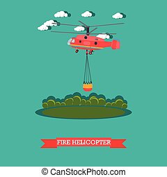 Fire helicopter vector illustration in flat style