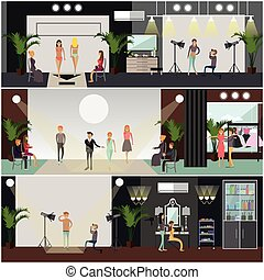 Vector set of fashion posters, banners in flat style -...