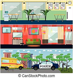 Vector set of first aid interior posters in flat style -...