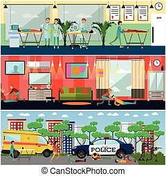 Vector set of emergency first aid posters in flat style -...