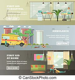 Vector set of first aid horizontal banners in flat style -...