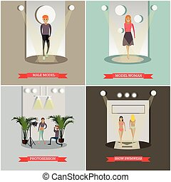 Vector set of fashion posters in flat style - Vector set of...