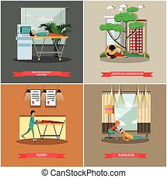Vector set of first aid posters in flat style - Vector set...