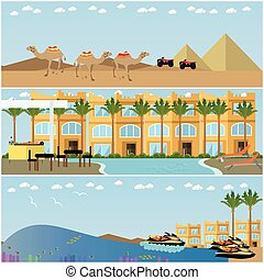 Vector set of egyptian resorts and famous places flat...