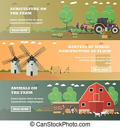 Vector set of farm horizontal banners in flat style - Vector...
