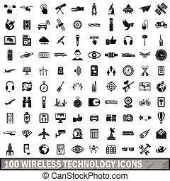 100 wireless technology icons set, simple style