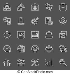 Investment and business outline icons